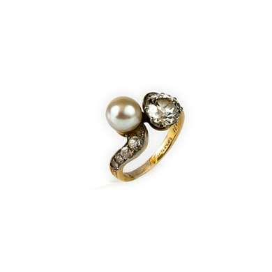 """Toi et Moi"" gold diamond and pearl  ring"