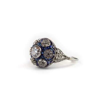 Bombé diamond and sapphire platinum ring