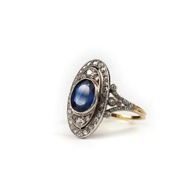 Belle Epoque sapphire and diamonds gold ring