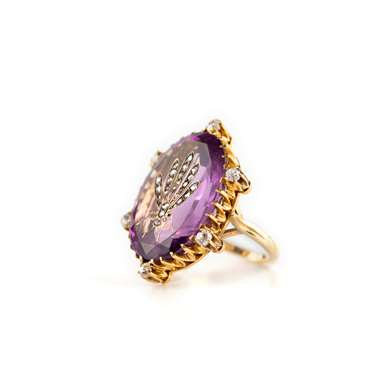 Art nouveau amethyst and diamond ring