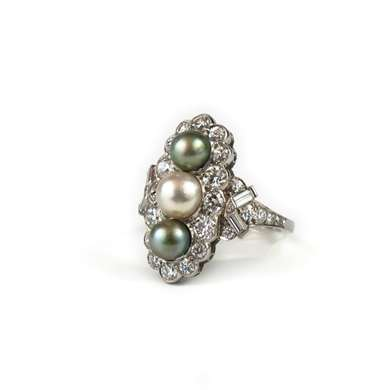 Platinum Marquise pearl and diamond ring