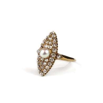 Gold marquise pearl and diamond ring