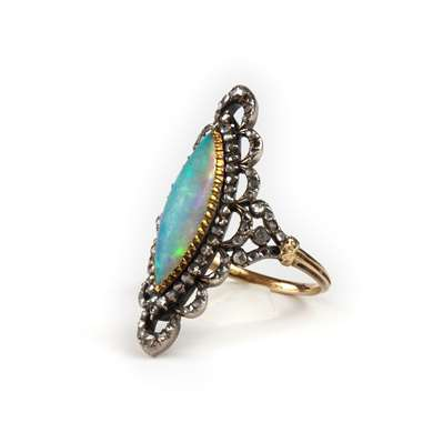 Edwardian marquise opal and diamond ring