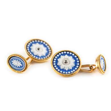 Gold and wedgwood cufflinks