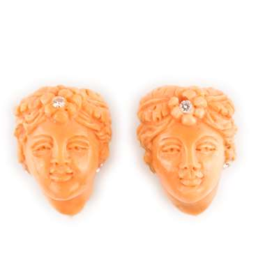 Pair of coral and gold Italian earring