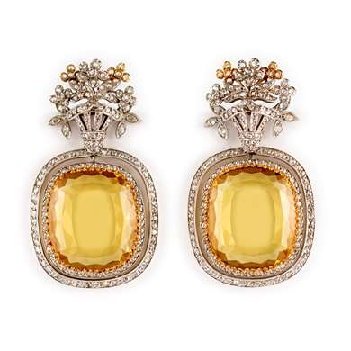 Golden beryl and diamond pendant earrings