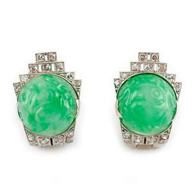 Art déco jade and diamond clips earrings