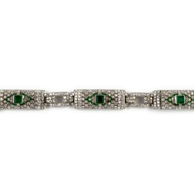 Art Déco platinum, emerald and diamond bracelet
