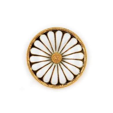 Enamel and gold flowehead brooch by Castellani