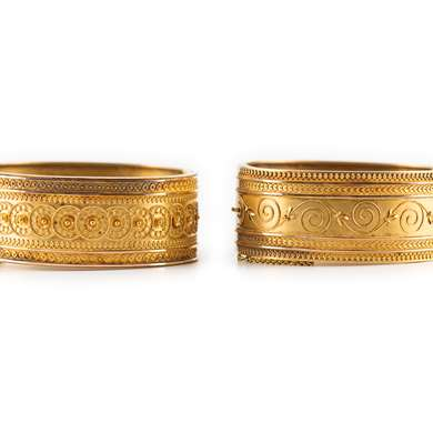 Pair of gold Neo Etruscan bangle