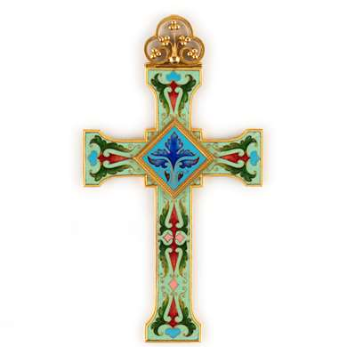 Floral scroll enamelled gold cross by John Paul Cooper