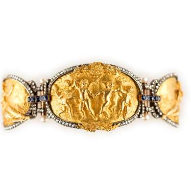 Gold figural panel bracelet with diamonds, sapphires and pearls by Eugène Bellosio, dated 1889