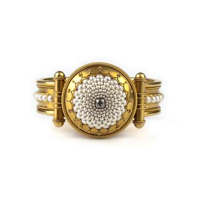 Etruscan Revival gold, pearls and diamond bangle