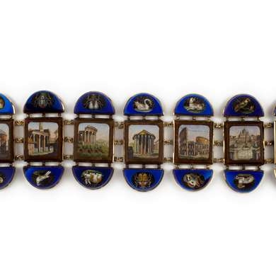 Micro mosaic and gold Italian bracelet