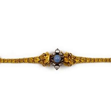 Renaissance revival gold and sapphire bracelet