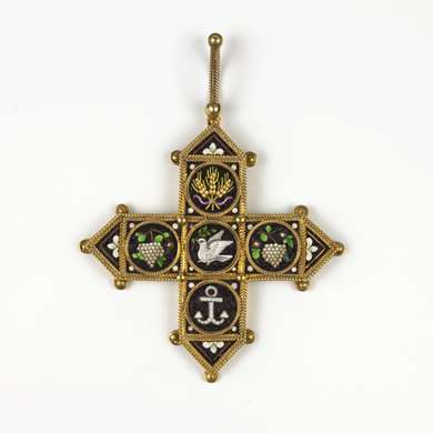 Victorian  gold and micro mosaic pendant
