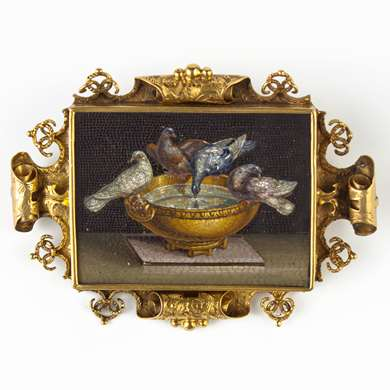 Victorian gold ad micro mosaic brooch