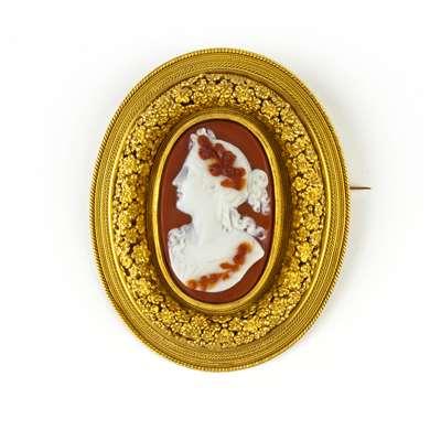 """Cornelian cameo gold """"Millefiori"""" brooch"""