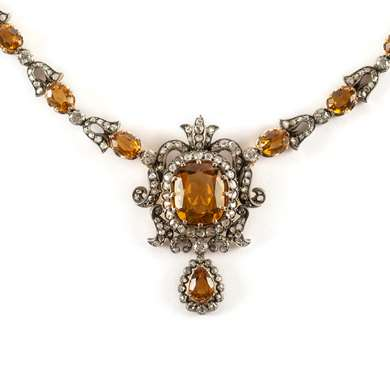 Victorian gold citrine and diamond necklace