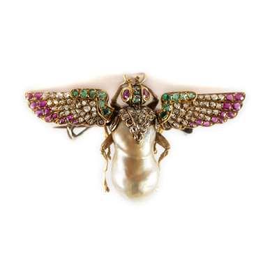 Victorian chaffer beetle brooch