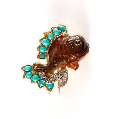 Amber and turquoise fish gold brooch