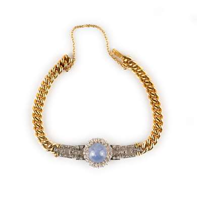 Victorian gold diamond and star sapphire bracelet