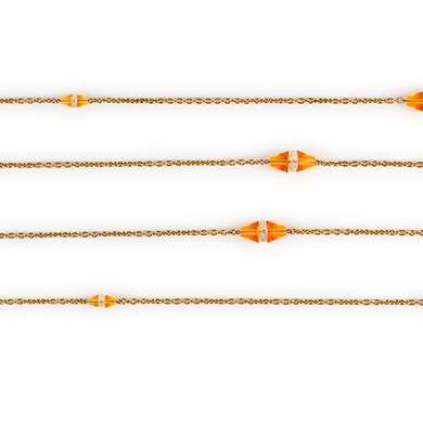 Gold and citrine longchain necklace