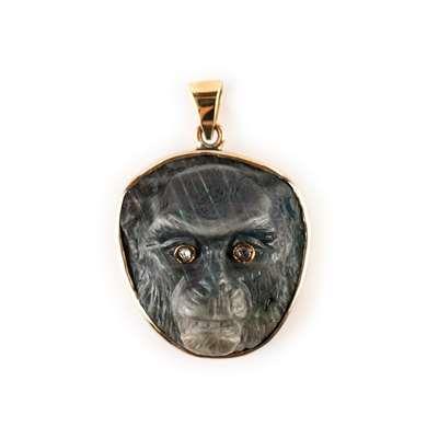 Gold and labradorite pendant