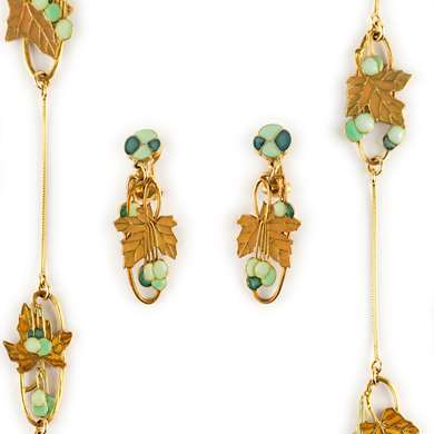 "Gold and enamel suite ""Automne"" by René Lalique"