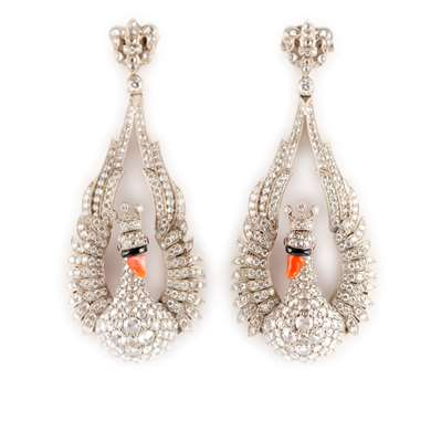 Gold diamond, onyx and coral swan earrings