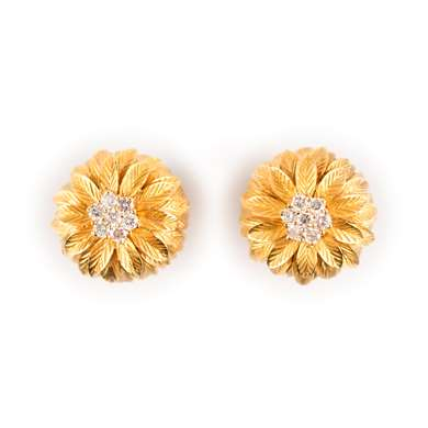 Gold and diamond earclips, circa 1960