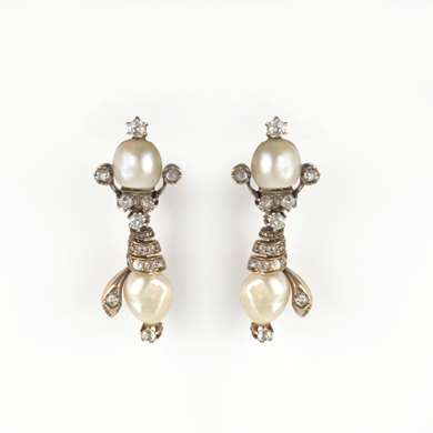 Victorian gold pearl and diamond earrings
