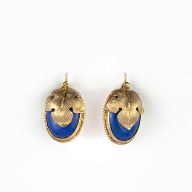 Victorian gold and lapis-lazuli earrings