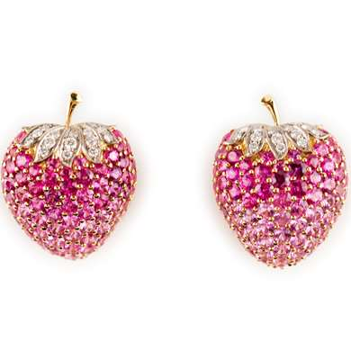 Strawberry ruby and diamond earclips