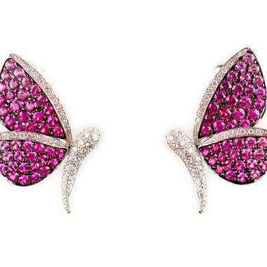 Pink sapphire and diamond butterfly earrings