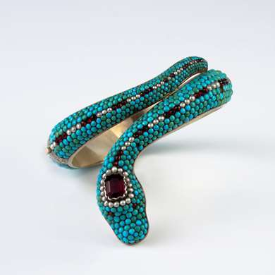 Victorian turquoise and garnet snake bangle