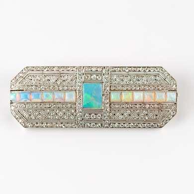Art Deco opal and diamond brooch