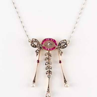 Belle Epoque gold, ruby, diamond and pearl pendant