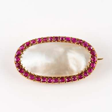 Victorian Pearl and ruby brooch