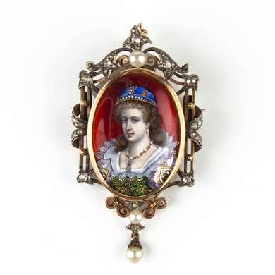 Limoges enamel gold brooch