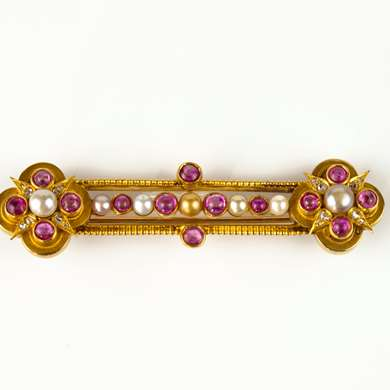Russian ruby and pearl brooch
