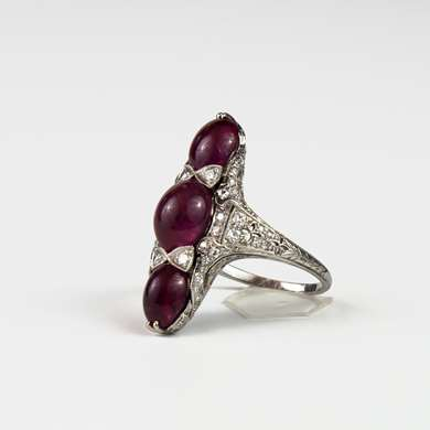 A Marquise ruby and diamond ring