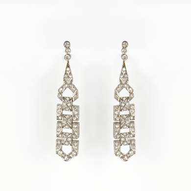 Art Deco Earrings in white gold set with 44 old size brilliant each.