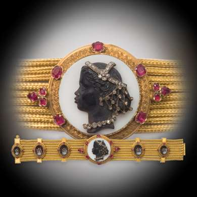 Cameo and ruby gold bracelet