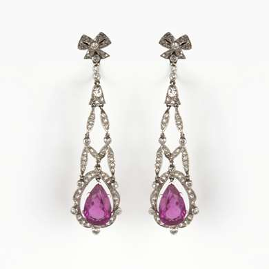 Pair of diamond and pink tourmaline platinum earrings