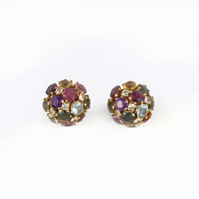 Pair of gold tutti frutti earclips