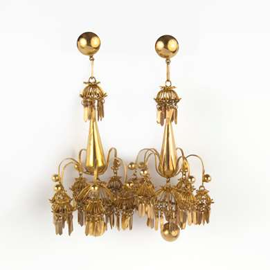 Pair of Indian gold earrings