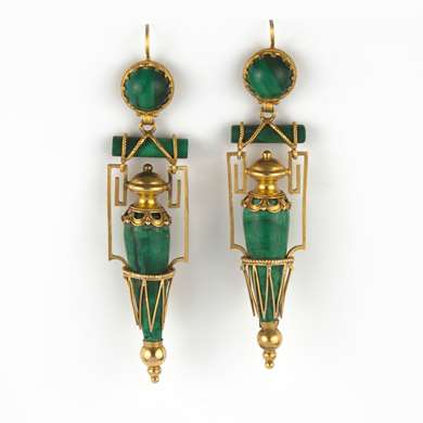 Pair of neo antique pendants gold earrings and malachite