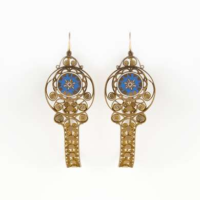 "Pair of yellow gold earrings model called ""poissardes"""