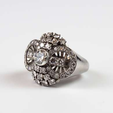 Platinum ring set with old size brilliant.